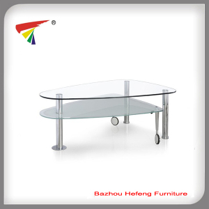 Newest Design Glass Coffee Table with Wheels (CT092)